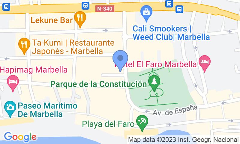 Localización del parking en el mapa - Marbella playa