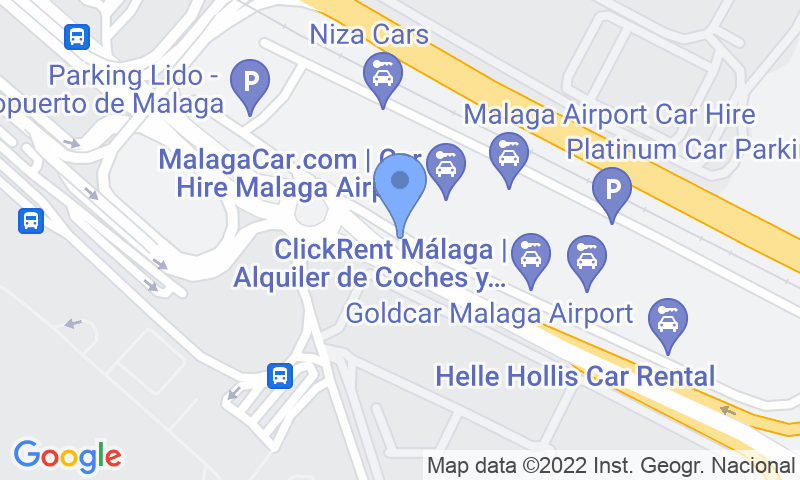 Emplacement du parking sur la carte - Réservez une place dans le parking Airport Málaga - Picasso Low Cost