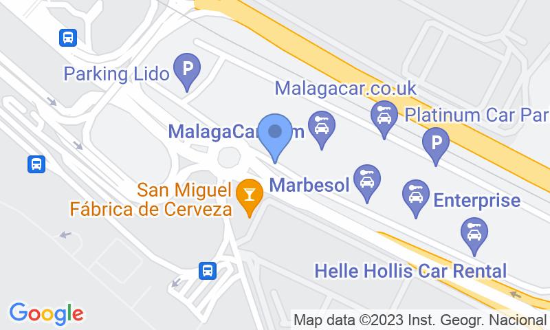 Emplacement du parking sur la carte - Réservez une place dans le parking Picasso -  Aeropuerto de  Málaga