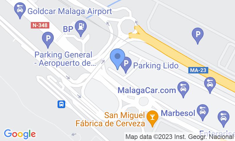 Расположение парковки на карте - Забронируйте паркоместо на стоянке Lido - Aeropuerto de Málaga