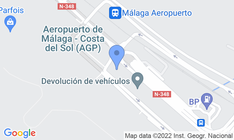 Localización del parking en el mapa - Reservar una plaza en el parking Málaga Airport Parking - Valet Exterior