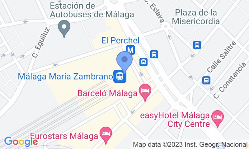 Emplacement du parking sur la carte - Réservez une place dans le parking Pedrocar Cubierto VIP - Estacion AVE Malaga - Maria Zambrano