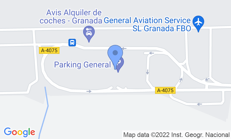Parking location in the map - Book a parking spot in AENA General P1 Granada car park