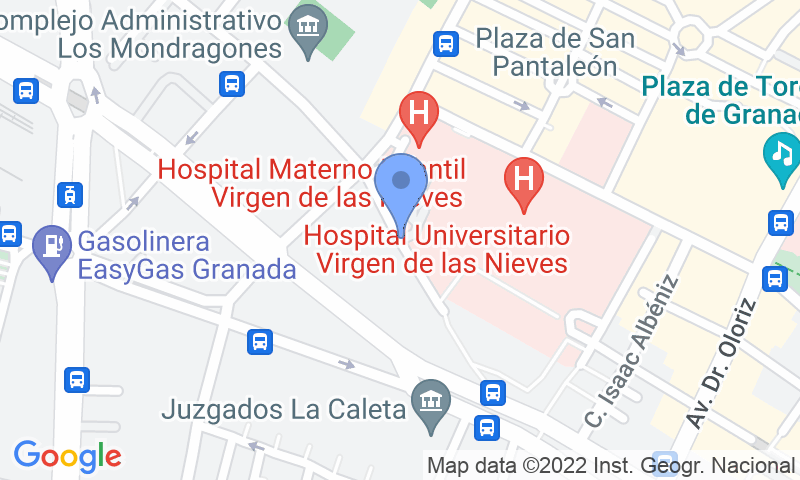 Parking location in the map - Book a parking spot in IC - Hospital Virgen de las Nieves car park