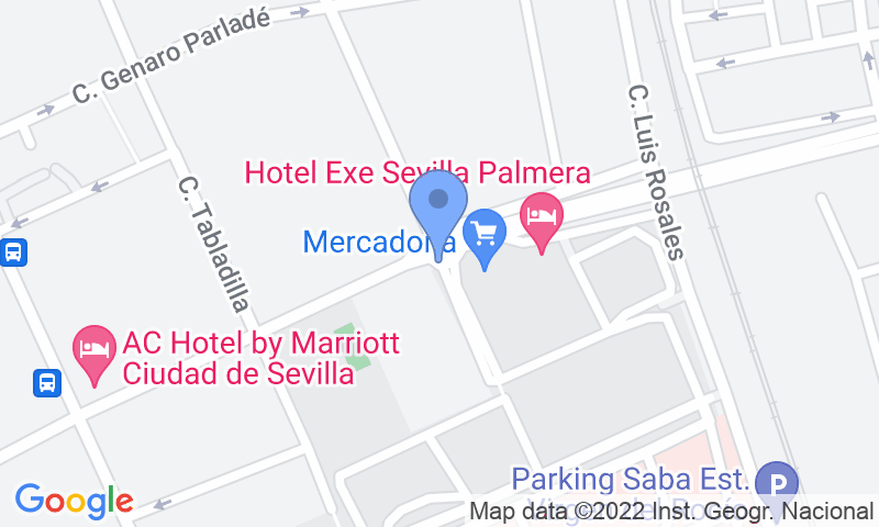 Emplacement du parking sur la carte - Réservez une place dans le parking Rosa Amarilla - Hospital Virgen del Rocío
