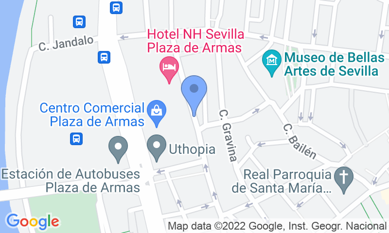 Localización del parking en el mapa - Reservar una plaza en el parking SABA ADIF Estación Autobuses Sevilla - Plaza de las Armas