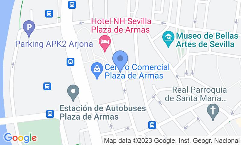 Localització del parking al mapa - Reservar una plaça al parking SABA ADIF Estación Autobuses Sevilla - Plaza de las Armas