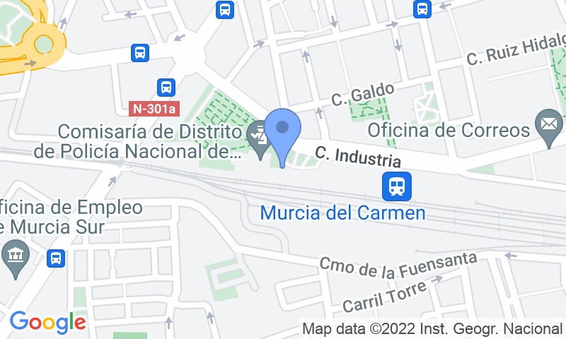 Parking location in the map - Book a parking spot in SABA ADIF Estación Murcia Renfe car park