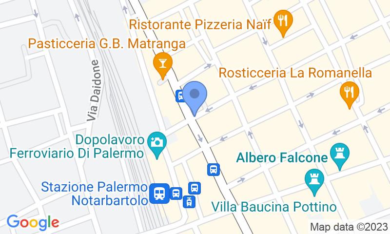 Расположение парковки на карте - Забронируйте паркоместо на стоянке ParkGo Mario Rapisardi - Stazione Notarbartolo