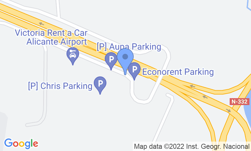 Localización del parking en el mapa - Reservar una plaza en el parking Autos Pablo Alicante Airport - Shuttle - Descubierto