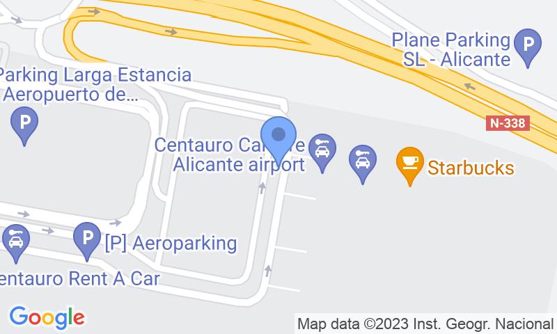 Localización del parking en el mapa - Reservar una plaza en el parking Autos Pablo Alicante Airport - Valet - Descubierto