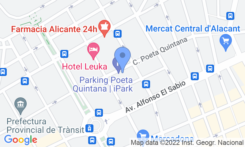 Parking location in the map - Book a parking spot in Poeta Quintana car park