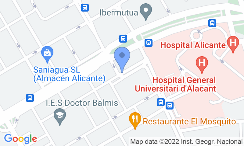 Localización del parking en el mapa - Reservar una plaza en el parking Europa - Hospital de Alicante