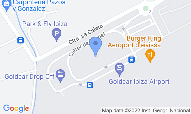 Localización del parking en el mapa - Reservar una plaza en el parking AENA General P1 Ibiza