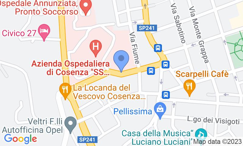 Localizzazione del parcheggio sulla mappa - Prenota un posto nel parcheggio Saba Cosenza - Ospedale