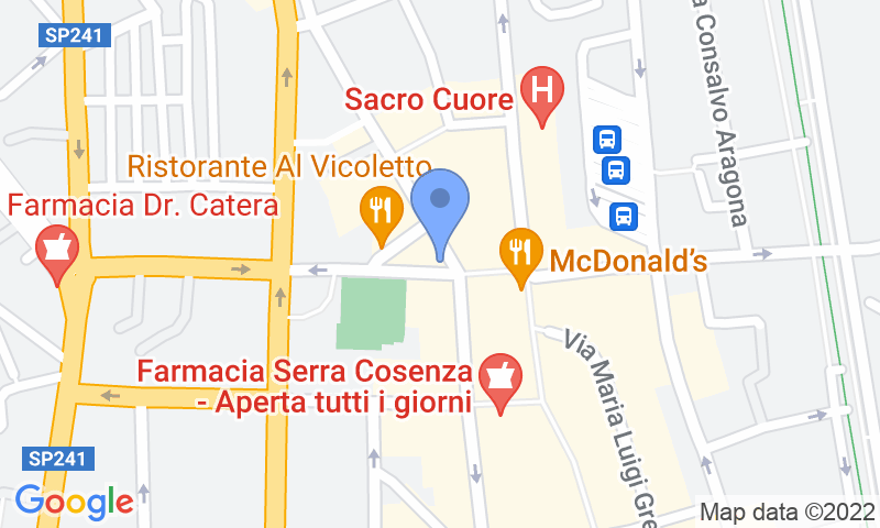 Parking location in the map - Book a parking spot in Quick Piazza Bilotti Cosenza car park