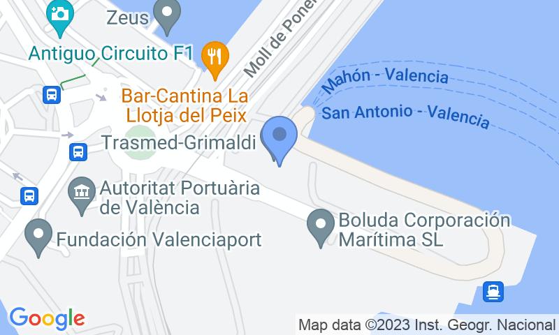 Localización del parking en el mapa - Parking Trasmediterranea, Balearia, MSC