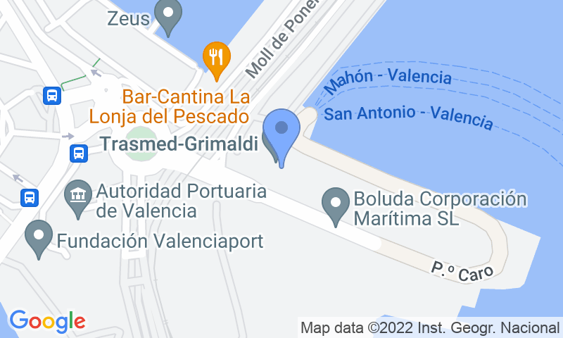 Localizzazione del parcheggio sulla mappa - Parking Trasmediterranea, Balearia, MSC