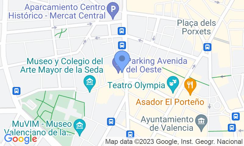 Localización del parking en el mapa - Reservar una plaza en el parking Avenida del Oeste