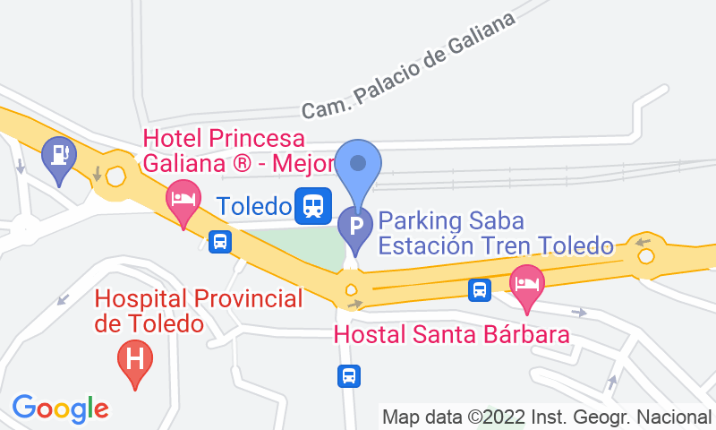 Parking location in the map - Book a parking spot in SABA ADIF Estación Toledo Renfe car park