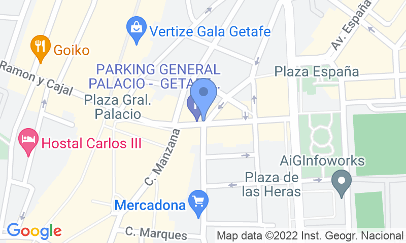 Localización del parking en el mapa - Reservar una plaza en el parking General Palacio