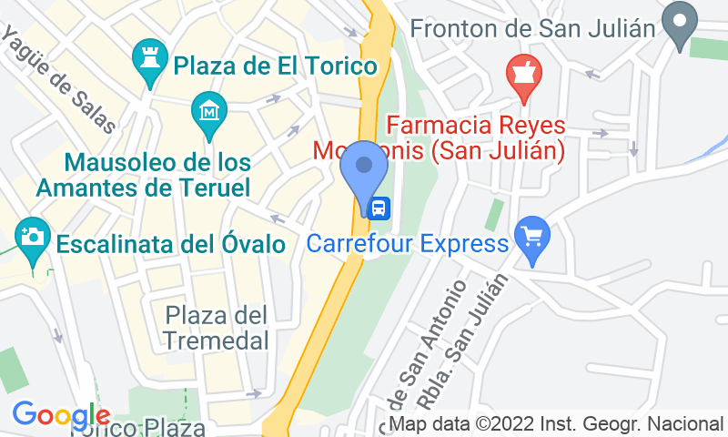 Parking location in the map - Book a parking spot in Estación de Autobuses de Teruel car park
