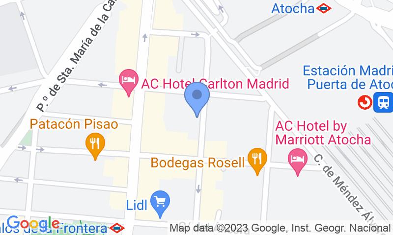 Localización del parking en el mapa - Parking Estación Madrid Puerta de Atocha Hiomarsa
