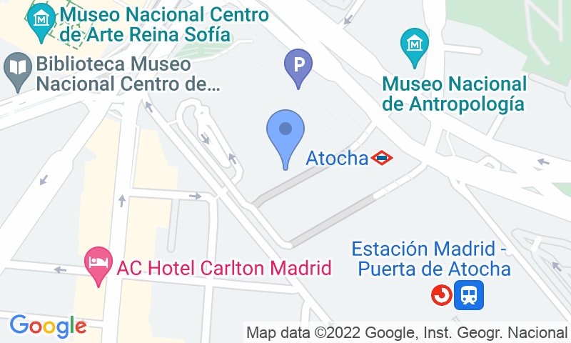 Emplacement du parking sur la carte - Réservez une place dans le parking Blue Valet Estacion Madrid Puerta de Atocha Exterior