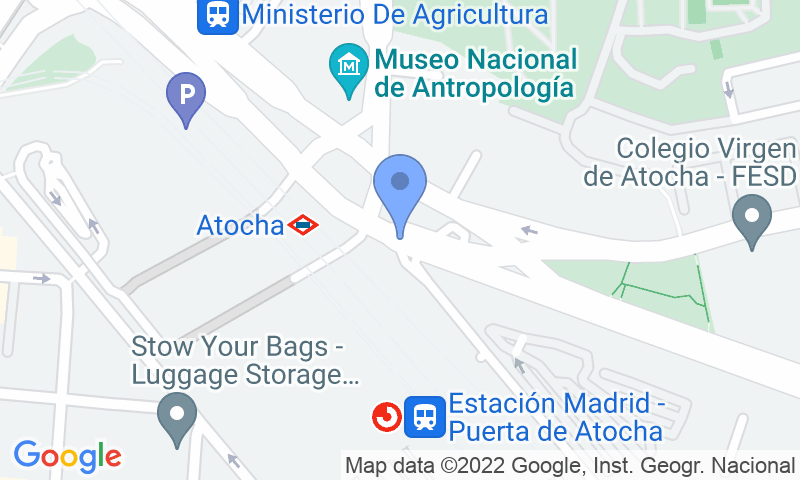 Parking location in the map - Book a parking spot in SABA ADIF Weekend Estación Madrid Atocha P2-P3 Renfe car park