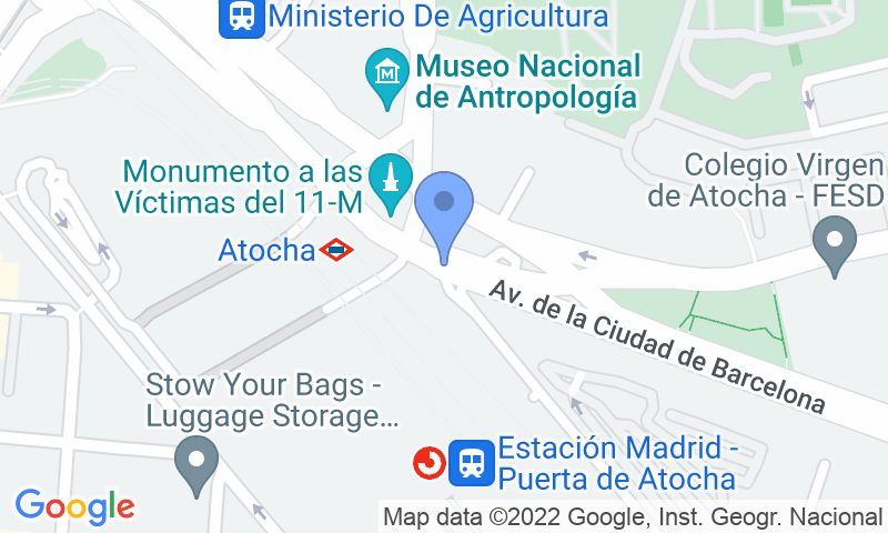 Localización del parking en el mapa - Reservar una plaza en el parking SABA ADIF Weekend Estación Madrid Atocha P2-P3 Renfe