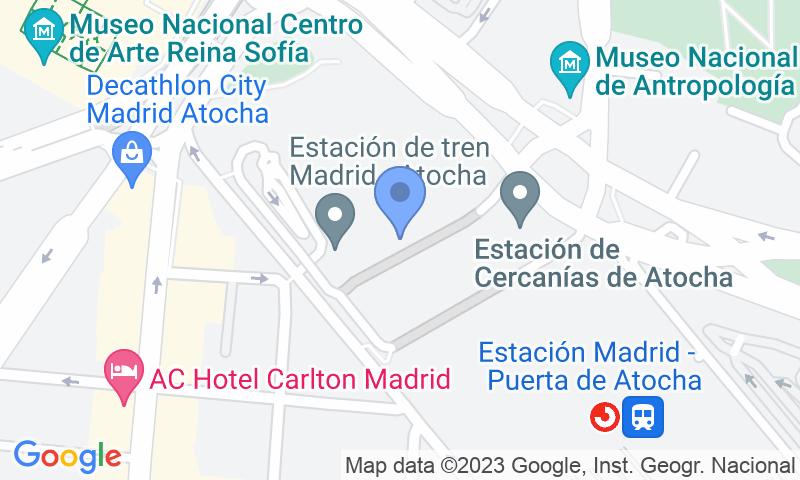 Localización del parking en el mapa - Reservar una plaza en el parking A.Park Estación de Atocha - Valet