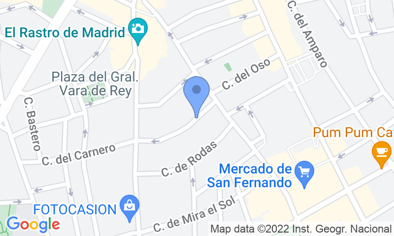 Parking location in the map - Book a parking spot in Rastro - Cascorro car park