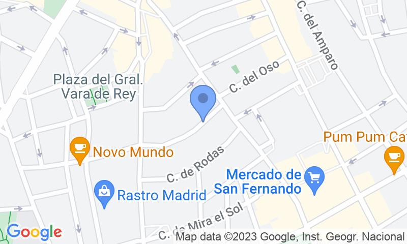 Localización del parking en el mapa - Reservar una plaza en el parking Rastro - Cascorro
