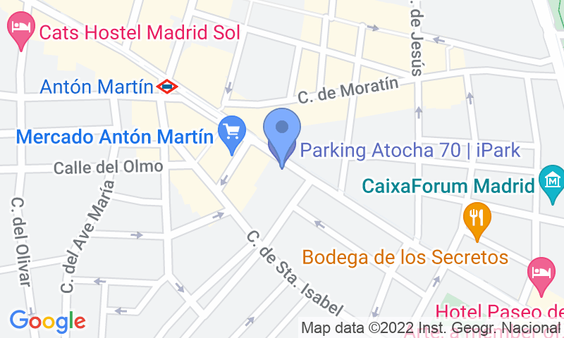 Localizzazione del parcheggio sulla mappa - Prenota un posto nel parcheggio Atocha 70