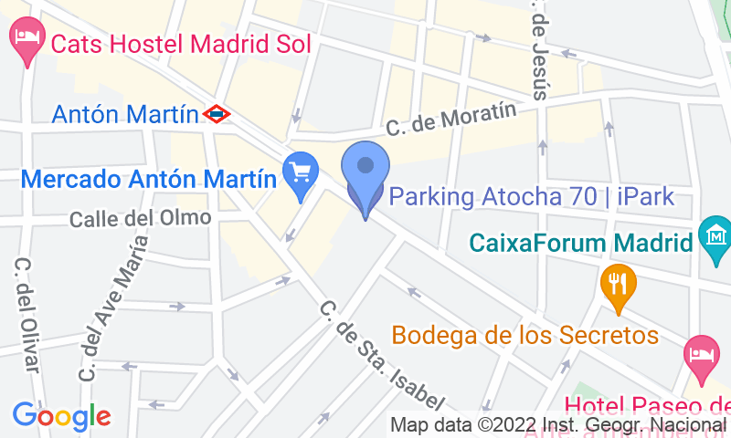 Parking location in the map - Book a parking spot in Atocha 70 car park