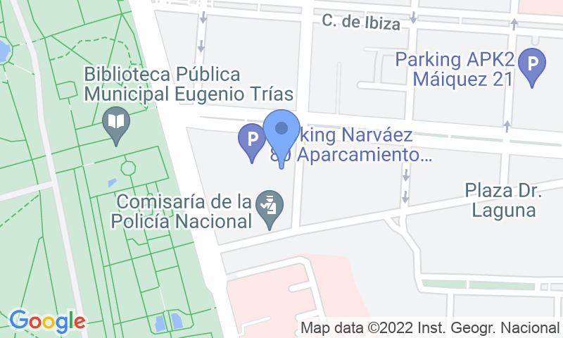 Localización del parking en el mapa - Reservar una plaza en el parking Narváez 80