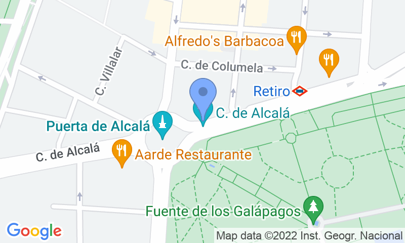 Parking location in the map - Book a parking spot in Serrano Retiro car park