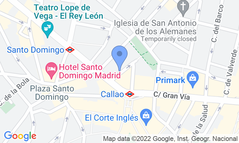 Localización del parking en el mapa - Callao Smart Parking   -    (Tudescos - Gran Via)