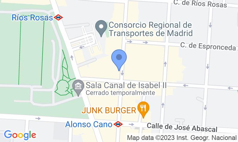 Emplacement du parking sur la carte - Réservez une place dans le parking Premier Ponzano - Río Rosas