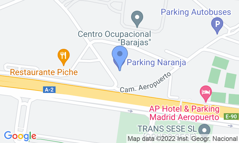 Parking location in the map - Book a parking spot in Barajas T1-T2 car park