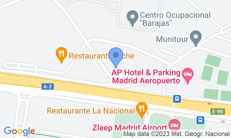 Localización del parking en el mapa - Reservar una plaza en el parking Barajas T1-T2