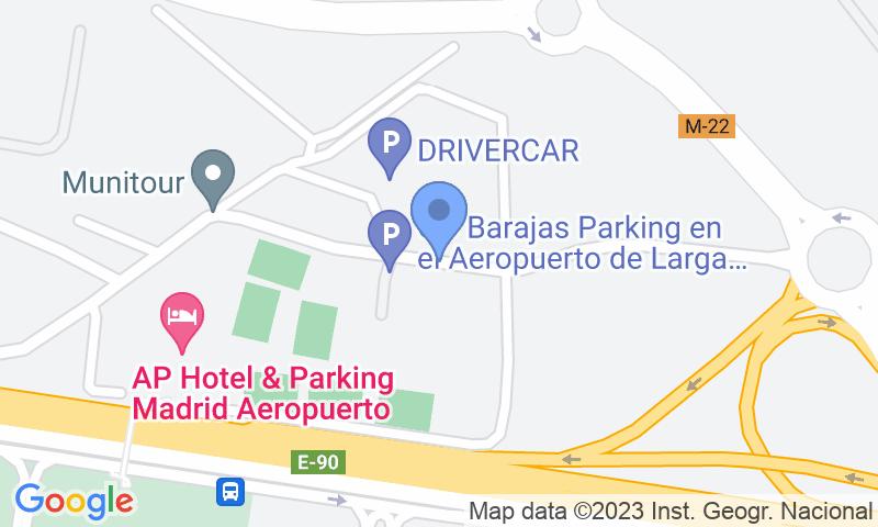 Localización del parking en el mapa - Reservar una plaza en el parking Go Barajas Shuttle - Descubierto