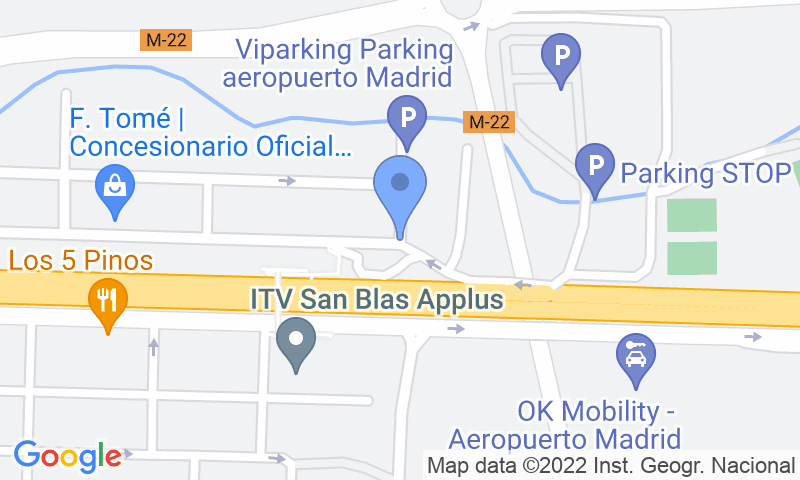 Emplacement du parking sur la carte - Réservez une place dans le parking Low-Cost Cubierto  Aeropuerto Madrid Barajas Lomcar