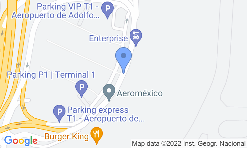 Emplacement du parking sur la carte - Réservez une place dans le parking Parkingexpress T4 - Madrid Barajas