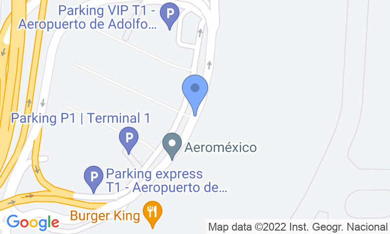 Emplacement du parking sur la carte - Réservez une place dans le parking Parkingexpress T1 - Madrid Barajas