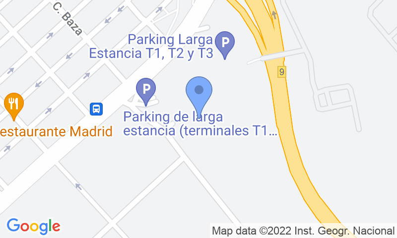 Localización del parking en el mapa - Reservar una plaza en el parking AENA Larga Estancia T1-T2-T3 Madrid