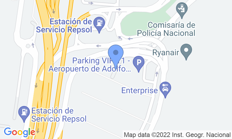 Localización del parking en el mapa - Reservar una plaza en el parking AENA General P1 (T1) Madrid