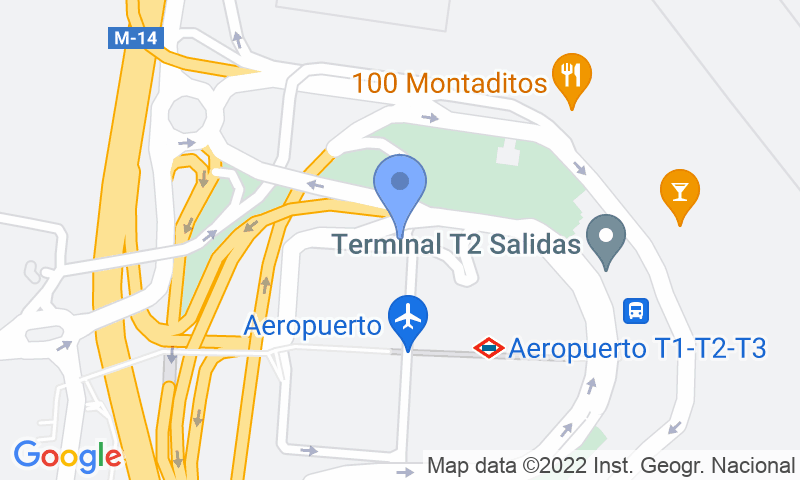 Emplacement du parking sur la carte - Réservez une place dans le parking AENA General P2 (T2-T3) Madrid