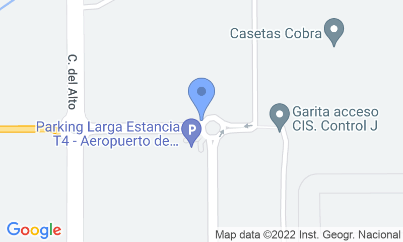 Localización del parking en el mapa - Reservar una plaza en el parking AENA Larga Estancia T4 Madrid