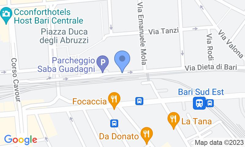 Localizzazione del parcheggio sulla mappa - Prenota un posto nel parcheggio Saba Bari-Guadagni